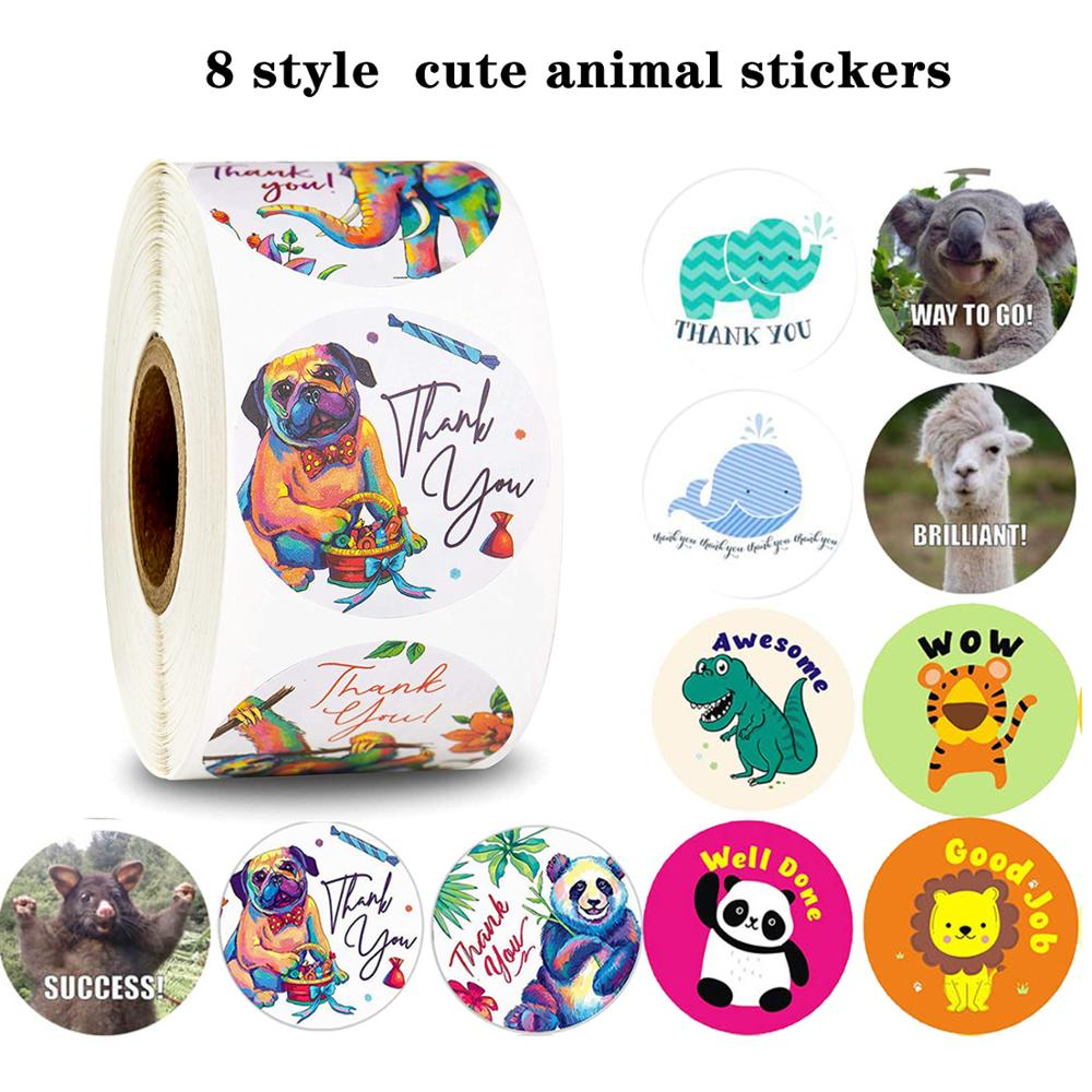 500pcs 1Inch Round Cute Cartoon Animal Stickers Seal Label For Scrapbook Stickers For Reward Kids Stationery Sticker Toy Tags