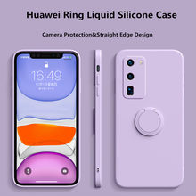 Soft Luxury Silicone Square Case For Huawei P30 P40 Mate 20 30 Nova 5 6 7 Pro Honor V30 30 Pro Ring Holder Shockproof Back Cover