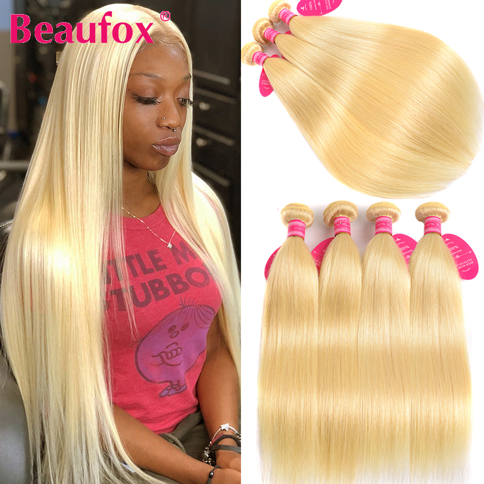 Tissage de cheveux brésiliens naturels Remy lisses-Beaufox, 3/4 humains, Extensions de cheveux lisses, blond 613, lots de 1/100% 613