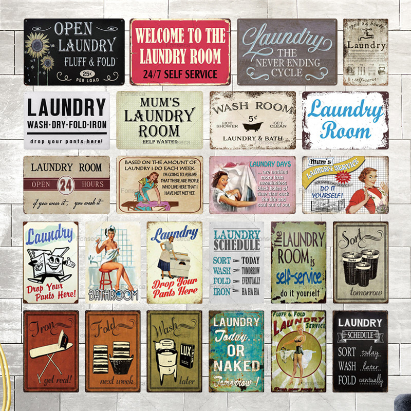 Laundry Sign Vintage Tin Sign Plaque Metal Vintage Retro Metal Sign Wall Decor for Laundry Room(China)