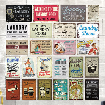 Laundry Sign Vintage Tin Plaque Metal Retro Wall Decor for Room