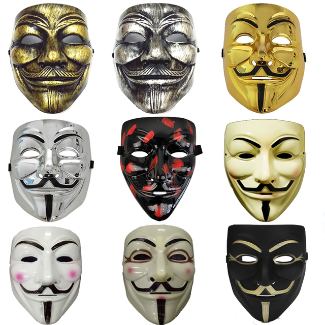 Party cos Masks V for Vendetta adult Mask Anonymous Guy Fawkes  Halloween Masks Adult Accessory Party Cosplay