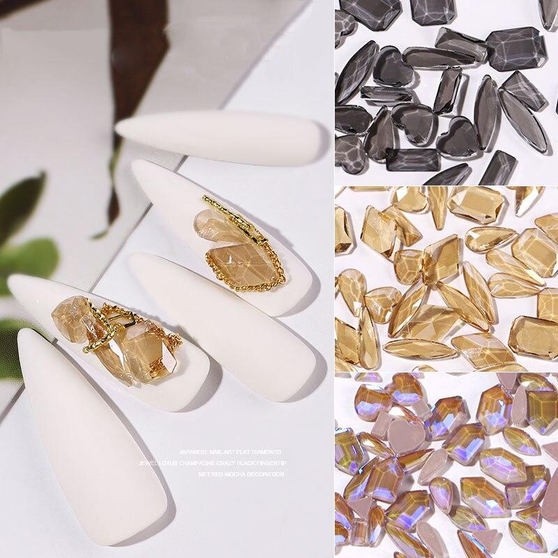 Mix şekiller 50 adet kristal tırnak sanat Rhinestones 3D Flatback parlak Diamonds taşlar takı DIY çivi süslemeleri manikür aksesuarları