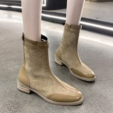 Belt Buckle Women's Boots Autumn Winter Fashion Plus Velvet Warm Zipper Round Toe Casual Ladies Shoes Botines Mujer 2019(China)