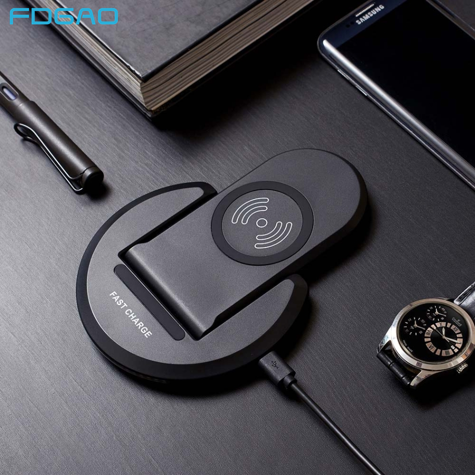 FDGAO 10W Fast Qi Wireless Charger Pad Stand iPhone X XR XS 8 11 Quick Charge For Samsung S8 S9 S10 Huawei P30 Pro XiaomI Mi 9|Wireless Chargers| |  - title=