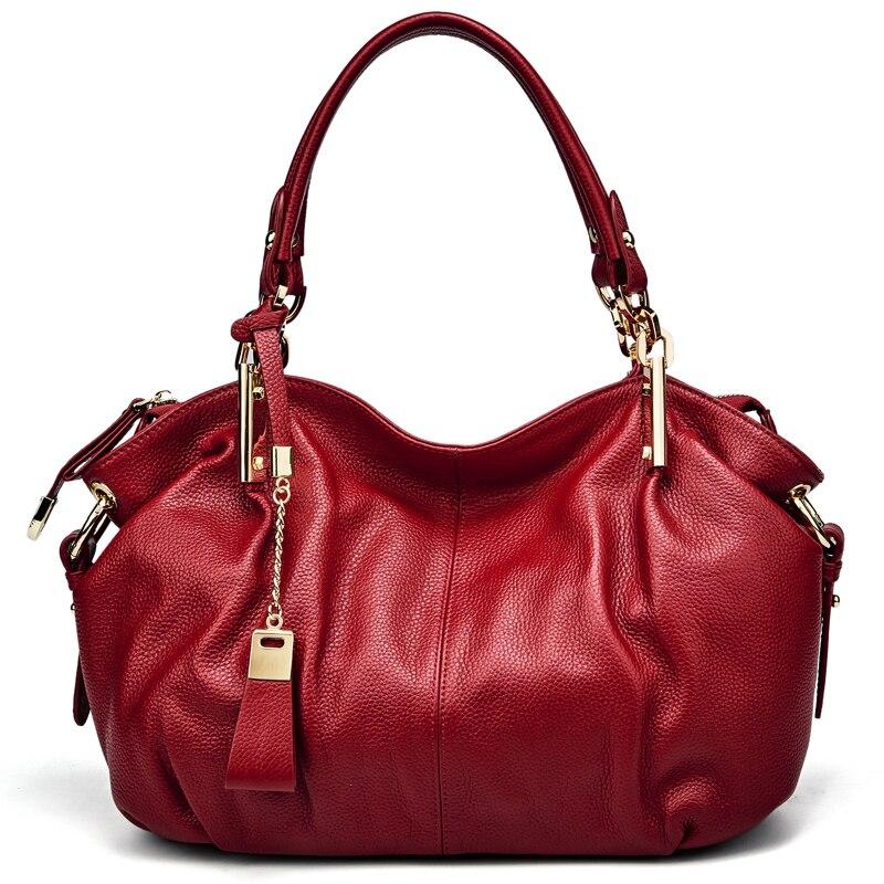 Bureau dames sacs à main Qiwang véritable sac à bandoulière en cuir véritable marque de luxe noir sac à main pour femmes casual fourre tout grande capacité - 5