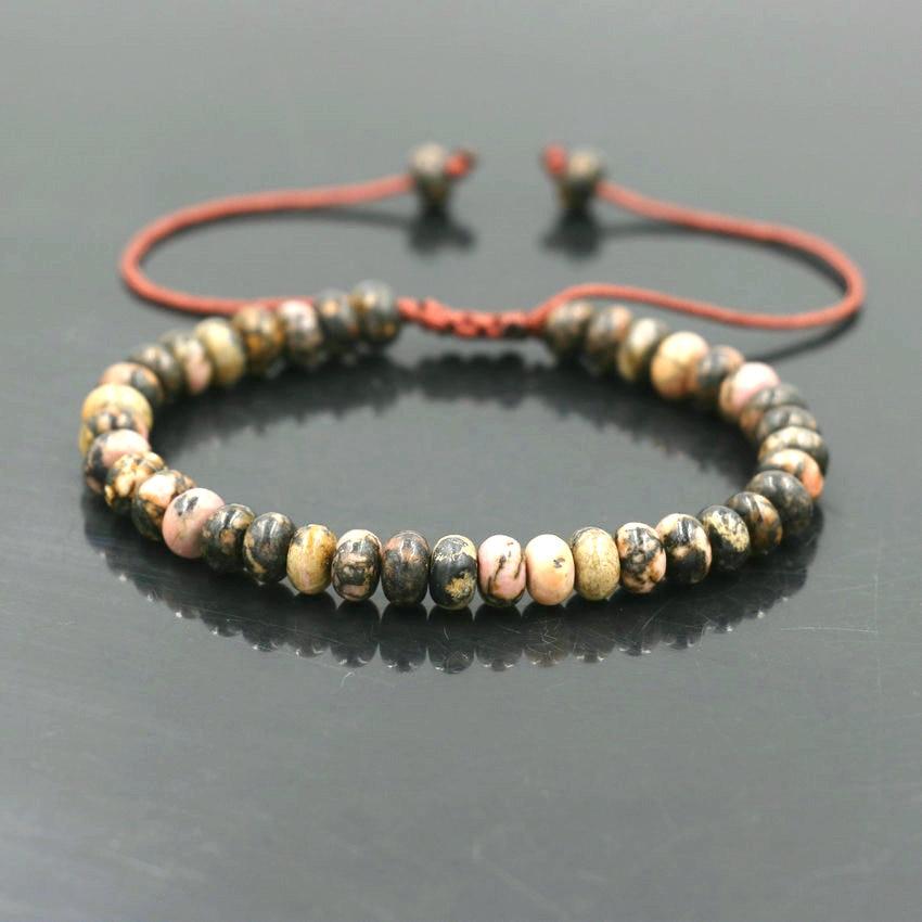 Good Lucky Abacus Bead Bracelet 4*6mm Tiger Eye Bark Onyx Stone For Women Girls Friendship Bracelet Rope Chain Men Jewelry