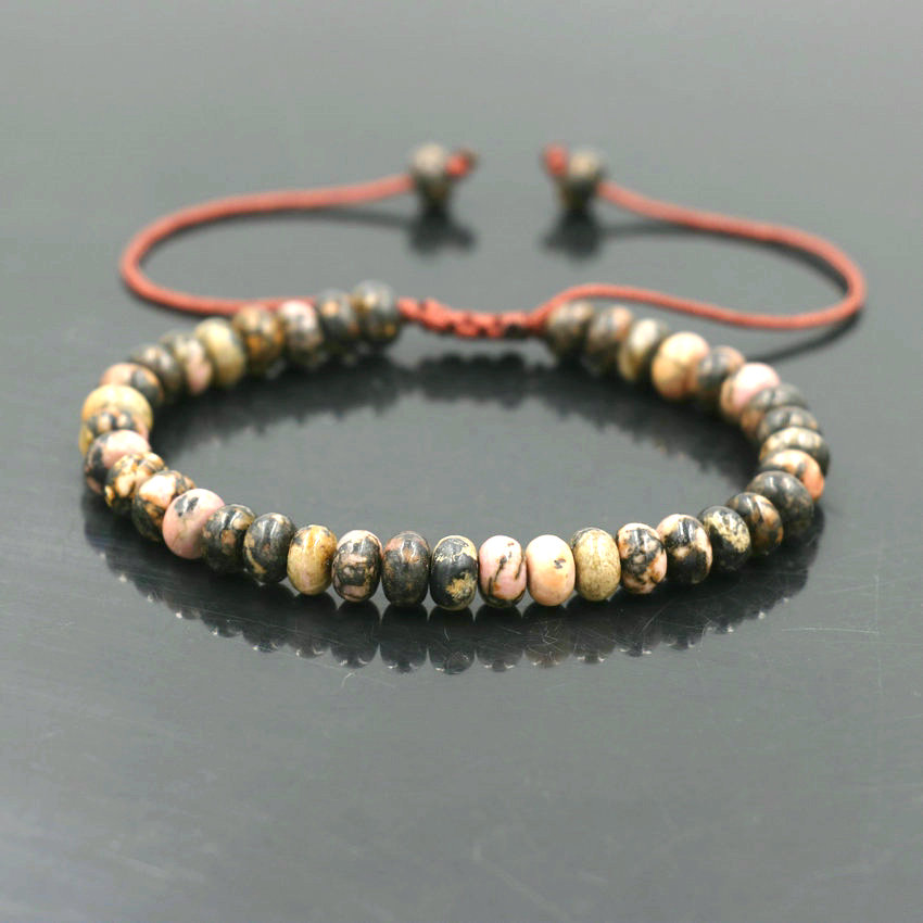 Good Lucky Abacus <font><b>Bead</b></font> <font><b>Bracelet</b></font> 4*6mm Tiger Eye Bark Onyx Stone For Women Girls Friendship <font><b>Bracelet</b></font> Rope Chain <font><b>Men</b></font> Jewelry image