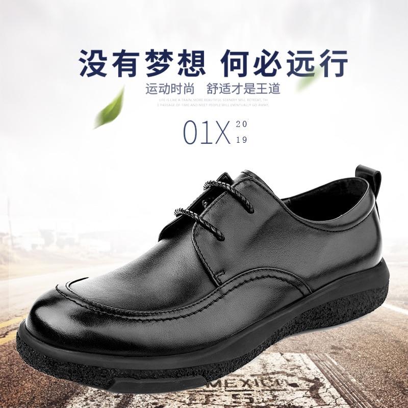 Automne chaussures en cuir décontracté mâle de haute qualité en cuir véritable chaussures hommes, à lacets hommes d'affaires chaussures, hommes chaussures habillées peau de vache - 3
