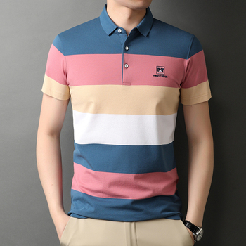 Men's Polo Shirt 2021 Summer Striped Cotton Short Sleeve Golf Polos Solid Slim Top Fashion New Arrival Breathable Plus Size