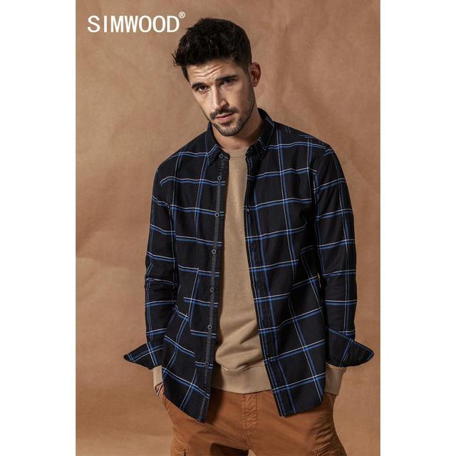 SIMWOOD מזדמן חולצות גברים 2020 חדש 100% טהור כותנה ארוך שרוול משובץ חולצות זכר Slim Fit Plus גודל camisa masculina 190008