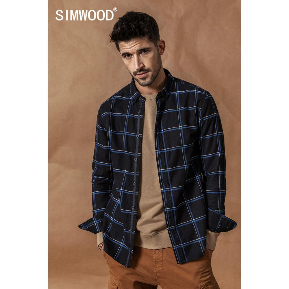 SIMWOOD Casual Shirts Men 2020 New 100% Pure Cotton Long Sleeve Plaid Shirts Male Slim Fit Plus Size Camisa Masculina 190008