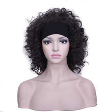 Women Wavy Wig Headbands High Temperature Fiber Lady Short Black Hairpieces Femme Synthetic Cosplay Wig цена в Москве и Питере