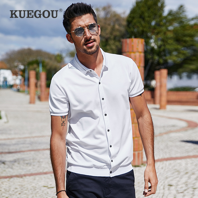 KUEGOU 2020 Summer Cotton Knitted Cardigan White Polo Shirt Men Short Sleeve Poloshirt For Male Clothes Brand Plus Size Top 3391