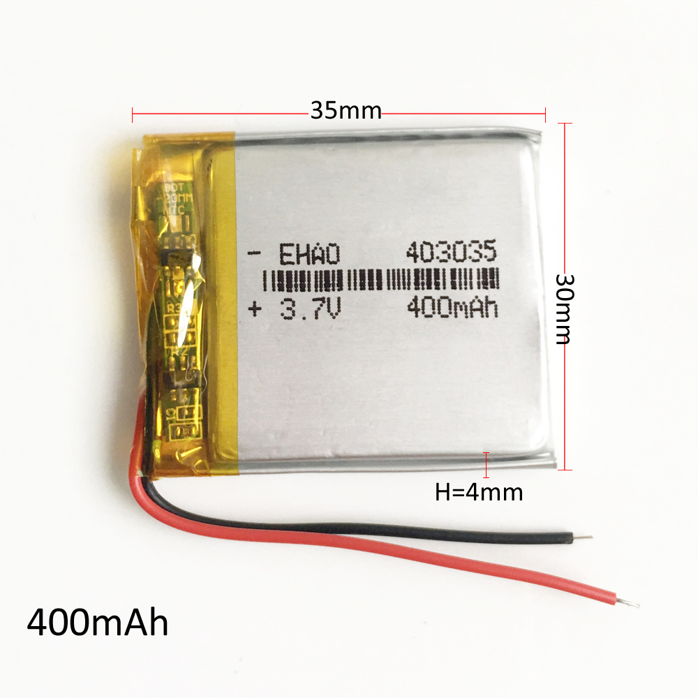 EHAO 403035 <font><b>3.7V</b></font> <font><b>400mAh</b></font> Lithium Polymer LiPo Rechargeable <font><b>Battery</b></font> For DIY Mp3 DVD CAMERA GPS PSP bluetooth electronic part image