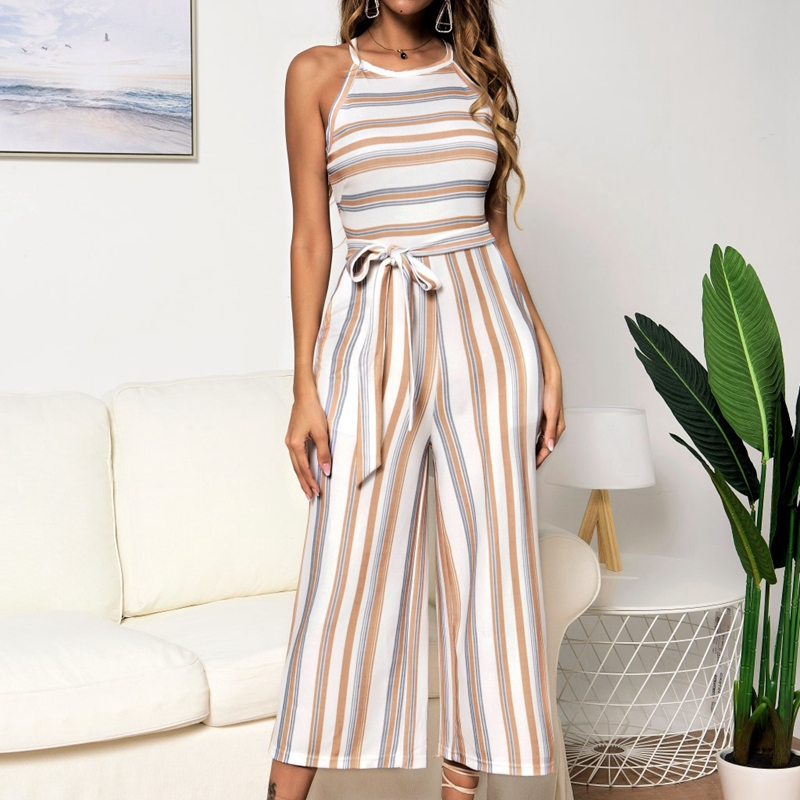 New Stripe Jumpsuit Women Sleeveless Elegant Sexy Bandage Jumpsuit Wide Long Pants Casual Work Romper Lady 2020 Summer Overalls