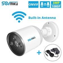 HD 1080P 720P WIFI IP kamera typu Bullet ONVIF na zewnątrz wodoodporny FHD 3MP kamera do monitoringu CCTV 1536P dwukierunkowy dźwięk pilot aplikacji karty TF