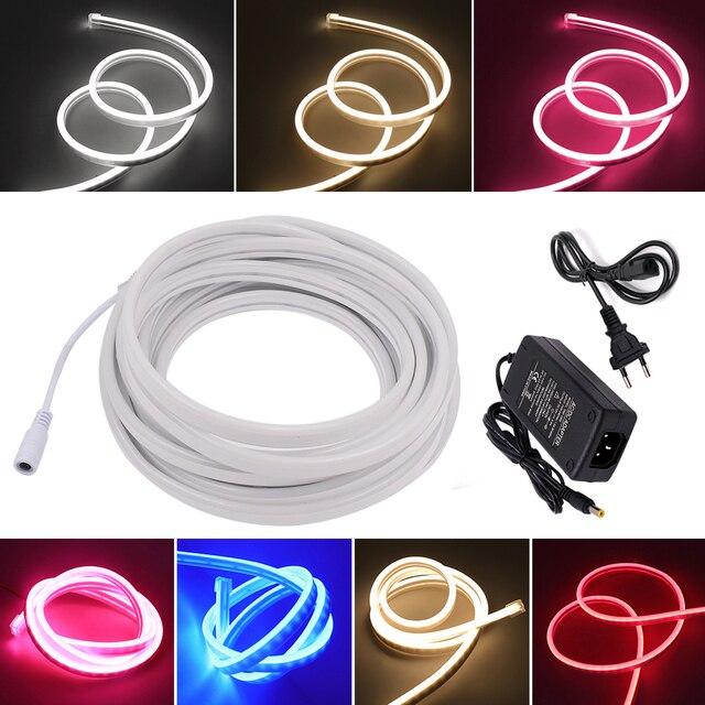 12V LED Bande de Lumière Au Néon de Corde Dimmable 2835 120led s/m 6mm Néon Flexible Imperméable Enseignes Au Néon 1m 2m 3m 4m 5m 7 Couleurs