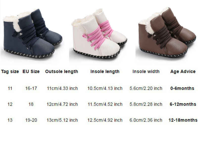 Nuevo bebé recién nacido niñas niños botas de nieve botas de cuero de invierno niños zapatos de fondo suave bebé PU peludo botas calientes 0 -18M