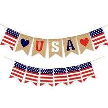 USA Independence Day Banner String Festival Party Layout Outdoor Interior Ceiling windows Decoration American Hanging flags