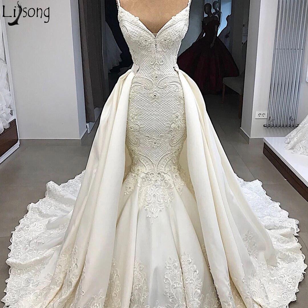 Luxury Long Sleeves Mermaid Wedding Dress With Detachable Train Spaghetti Strap Overskirts Bridal Wedding Gowns Vestido De Noiva