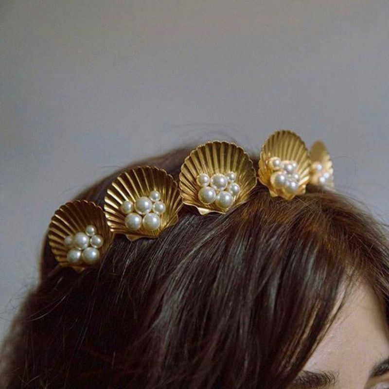 Marine Style Golden Shell Tiara Crown with Comb Faux Pearl Beaded Wedding Bridal Hair Hoop Women Girl Vacation Styling Bobby Pin in Women 39 s Hair Accessories from Apparel Accessories
