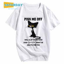 Dos homens Me Irrita EU VOU bater em você com tanta força gato engraçado camiseta mulheres verão moda animais t-shirt roupas unissex