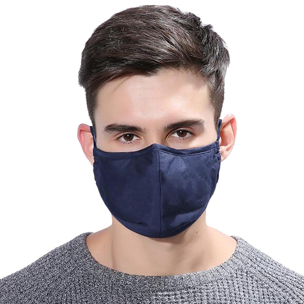 Homem legal moda reutilizável máscaras de rosto azul marinho lavável respirável máscara de boca à prova de vento equitação sol-resistente masker