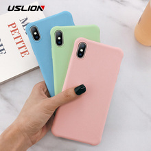 USLION Candy Color Phone Case For iPhone 11 Pro Max X XS Max XR TPU Silicone Case For iphone 7 6 6S 8 Plus Shockproof Soft Cover цена и фото