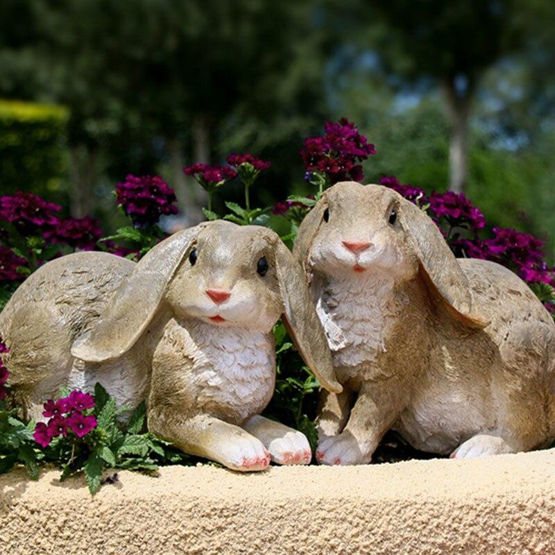 Garden Decor Sculpture Simulation Rabbit Statue Outdoor Courtyard Lawn Animal Decoration Gardening Landscape Sculpt Rabbits