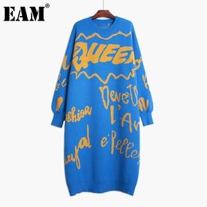 [EAM] Women Printed Big Size Long Knitting Dress New Round Neck Long Sleeve Loose Fit Fashion Tide Autumn Winter 2020 1DA783