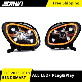 SANVI 2PCS LED Headlight Assembly for Benz Smart 2015 -2018 With Bi LED Projector Lens Headlight  Diamond LED DRL