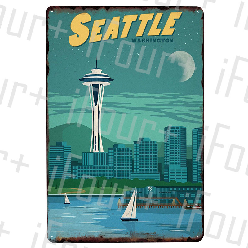 Seattle Metal Plate Tin Sign Plaque Metal Vintage Decor Metal Sign Metal Poster Home Bar Pub Cafe Decoration Vintage Posters image