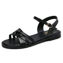 Sandálias femininas de verão, roma, sapatos baixos, casuais, sandálias femininas de couro genuíno, tamanhos 34-43, para mulheres