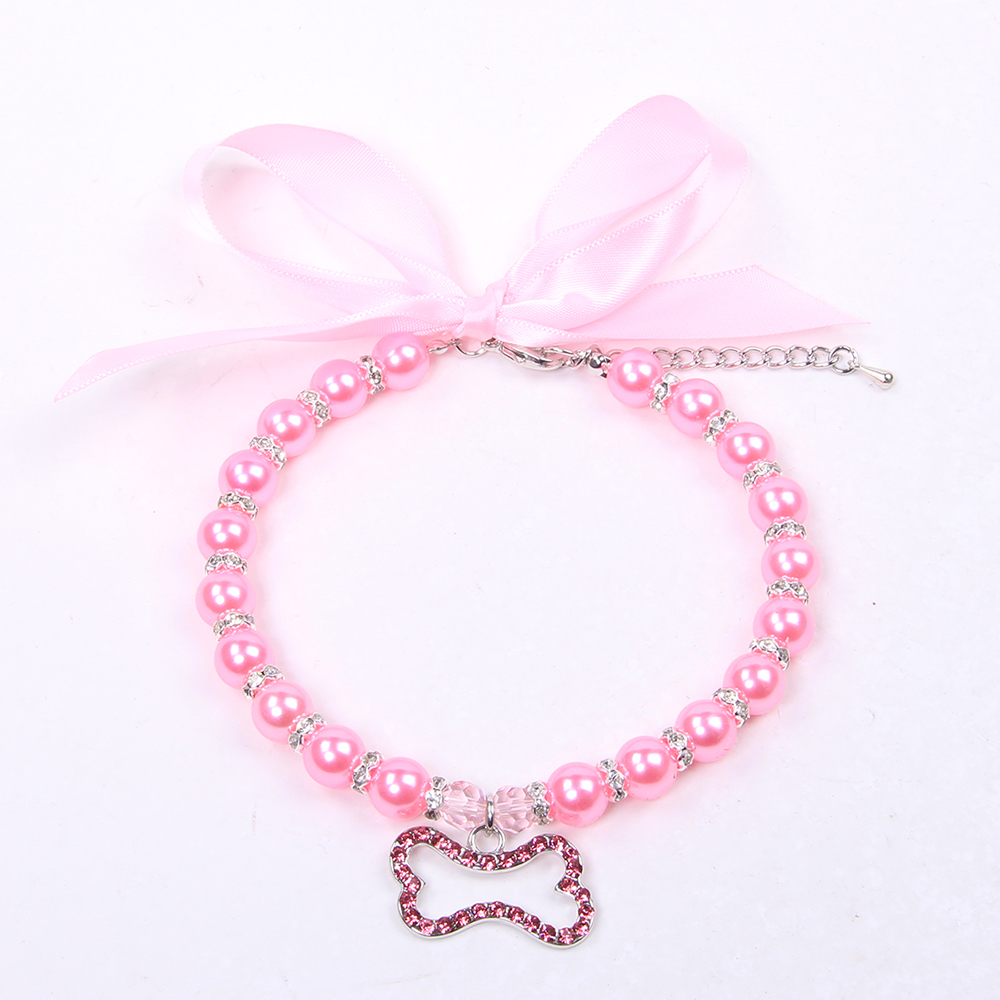 Princess Dog Cat Pearls Necklace Collar with Rhinestones Accessories Bone Charm Pendant Pet Puppy Wedding Party Jewelry