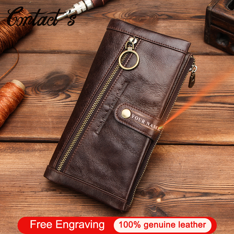 Contact's Men Wallet With Coin Pocket Genuine Leather Long Purse Hasp Clutch Bag Male Wallets Zip Portfel Card Holder Carteira