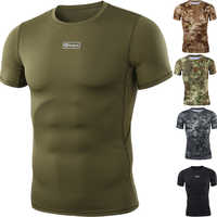 New Outdoor Hunting Camouflage T-shirt Men Breathable Army Tactical Combat Shirt Military Quick Dry Sport Camo Hunting Camp Tees