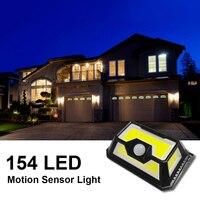 태양 조명 4면 COB 154 LED PIR 모션 센서 램프 보안 조명 벽 무선 방수 3 조명 모드 야외