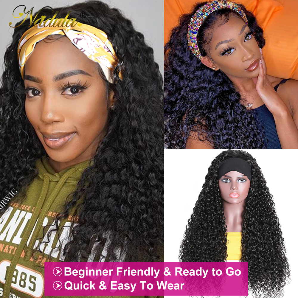 Perfect Fit Culry Hair Headband Wigs for Black Women 150% Density Super Natural Half Wig Curly  Wig Nadula Product 5