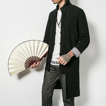 Chinese Style Casual Trench Long Coat Men Windbreaker Retro Autumn Solid Color Stand Collar Cloak
