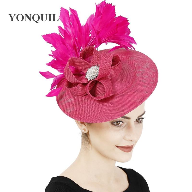 hot pink feather headband fascinator millinery wedding
