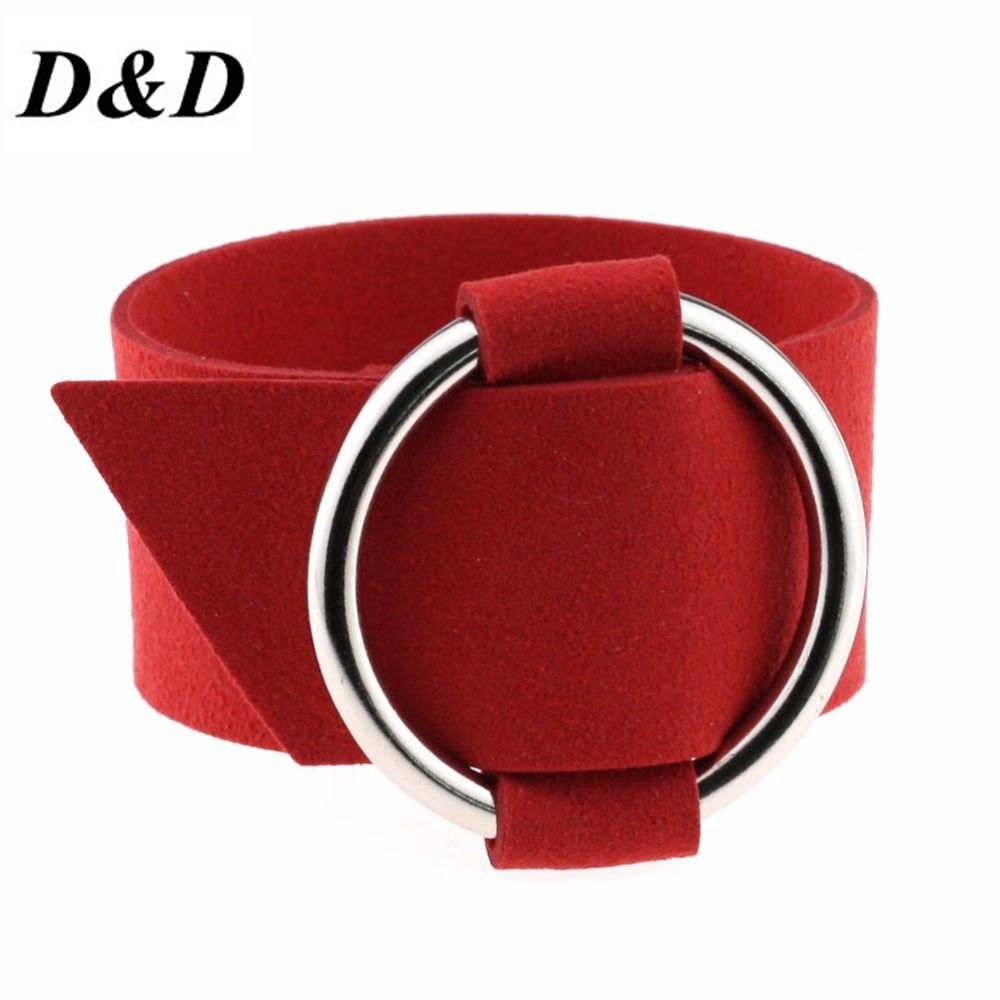 D&D Charm Wide Black Velvet Leather Bracelets Multicolor Metal Silver Big Circle Wrap Bracelet Femme Wristband Jewelry