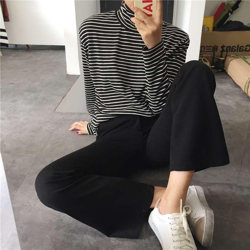 Black White Striped Turtleneck Female T-shirt Summer Fashion Elegant Women Long Sleeve T-shirt Loose Casual Tees