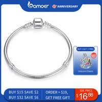 Bamoer venda superior autêntico 100% 925 prata esterlina cobra corrente bangle & pulseira para mulher jóias de luxo 17-20 cm pas902