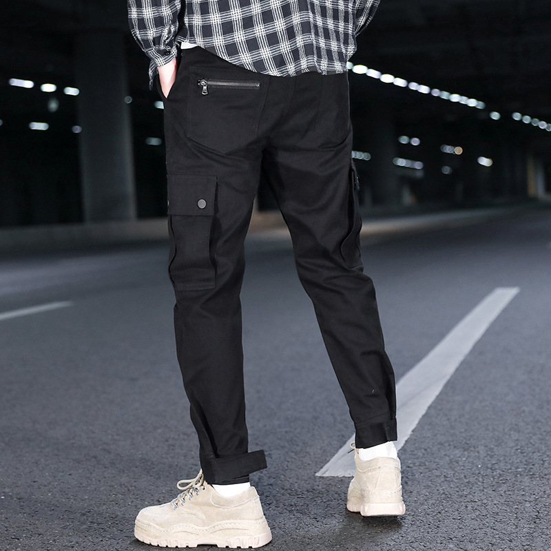 2019-MEN'S Casual Pants Fashion National Trends Bib Overall Young MEN'S Students' Pants