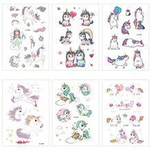 12x7cm à prova dwaterproof água suor unicórnio tatuagem adesivos bonito engraçado adesivos dos desenhos animados das crianças tatuagem adesivos