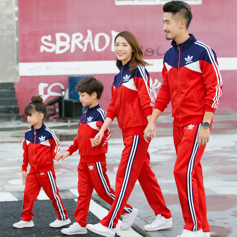Autumn and winter family matching clothes outfits Sport suit sets family look father mom mother son and me clothes boy girl