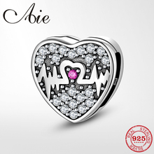 Charm Jewelry-Making Heartbeat Bead 925-Sterling-Silver Reflection Original Clips Fit