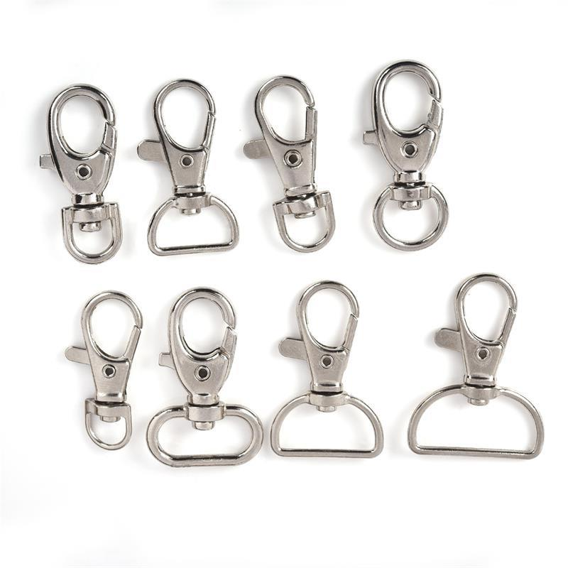 10pcs/Lot D Ring Swivel Lobster Clasp Keychain Alloy Metal Clasps Hooks Handbag Straps Accessories DIY Jewelry Making
