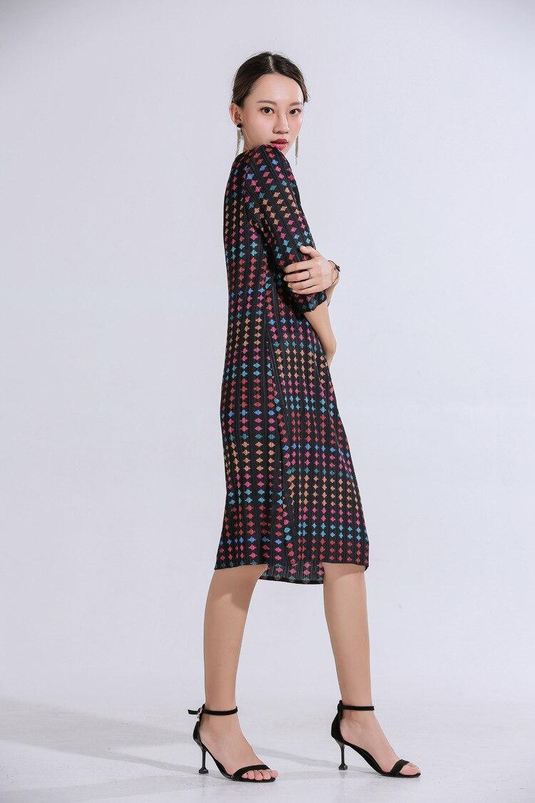 Miyake pli impression numérique robe à manches sept points nouvelle mode slim robes midi livraison gratuite